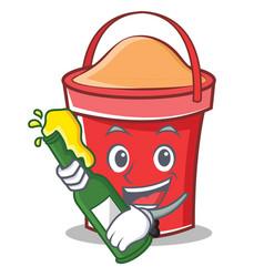 With beer bucket character cartoon style vector