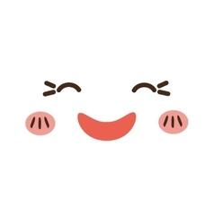 kawaii cartoon face expression smile icon vector image