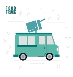Ice cream truck fast food icon graphic vector