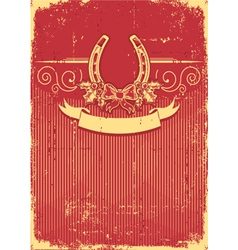 Horseshoe on vintage red christmas background with vector