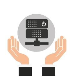 hands businessman data center server vector image