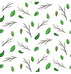 seamless pattern with leaves and branches vector image