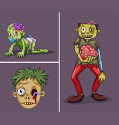 Three zombies on gray background vector
