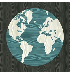 World map shape in wood vector image