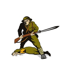 Soldier standing over body vector