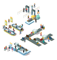 Airport isometric compositions vector