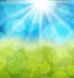 Sunny natural background with lens flare vector