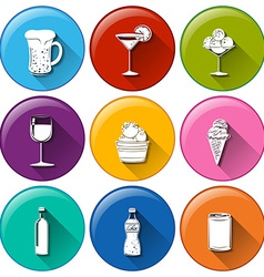 Round icons with the different refreshing drinks vector