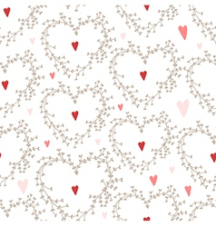 Hand drawn pattern with wreaths and hearts vector
