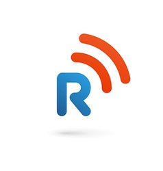 Letter r wireless logo icon design template vector