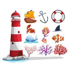 Lighthouse and other ocean things vector
