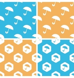 Umbrella pattern set colored vector image