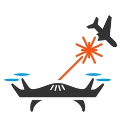 Laser drone strikes airplane icon vector