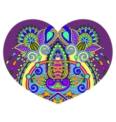 Heart shape with ethnic floral paisley design for vector