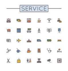 Colored service line icons vector