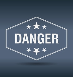 Danger hexagonal white vintage retro style label vector