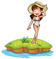 An island with a girl wearing a bikini vector image