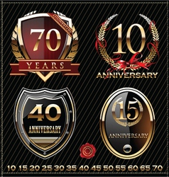 Anniversary golden labels vector image vector image