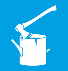 axe stuck in a tree stump icon white vector image