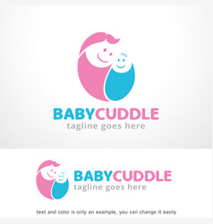 baby cuddle logo template design vector image