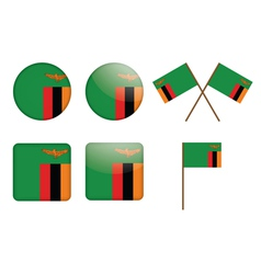 badges with flag of Zambia vector image vector image