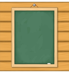 Blackboard on wooden wall vector image