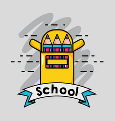 Coloring pencils shool utensils and ribbon design vector