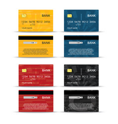 credit or debet cards design set vector image vector image