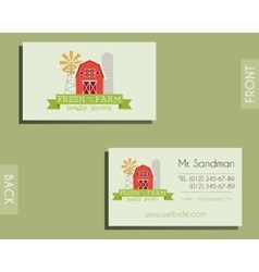 Eco organic visiting card template For natural vector image vector image