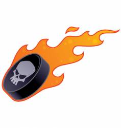 flaming hockey puck vector image vector image