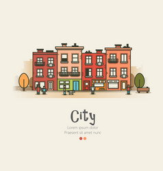 flat design modern urban landscape and city life vector image vector image