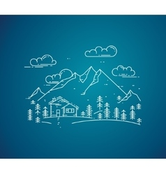 flat linear landscape with house trees and vector image vector image