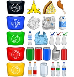 Food bottles cans paper trash recycle pack vector