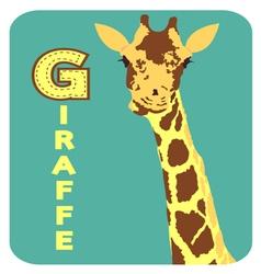 G for giraffe alphabet cartoon animal for children vector