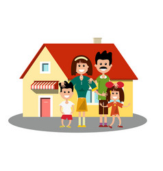 House icon with happy family vector