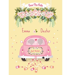 Just married car with save the date wedding vector
