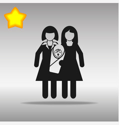 Lesbian couple with a baby black icon button logo vector