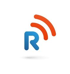 Letter r wireless logo icon design template vector