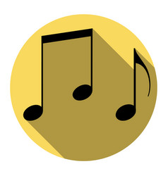 Music notes sign flat black icon with vector