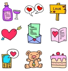 Object cute love of doodles vector