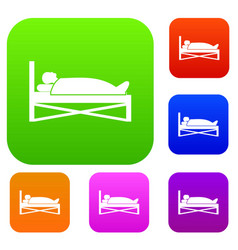 Patient in bed in hospital set collection vector