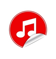 Red sticker music vector image vector image