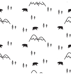 Scandinavian simple style black and white bear vector image vector image