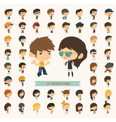 Set of 50 young people with hipster fashion style vector image