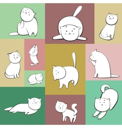 Set of cats in boxes vector