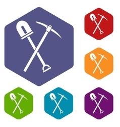 Shovel and pickaxe icons set vector image vector image