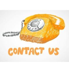 Vintage phone sketch vector image vector image