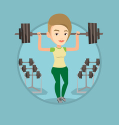 woman lifting barbell vector image vector image