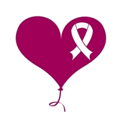Ribbon pink breast cancer icon vector