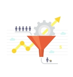 Sales funnel and growth chart conversion vector